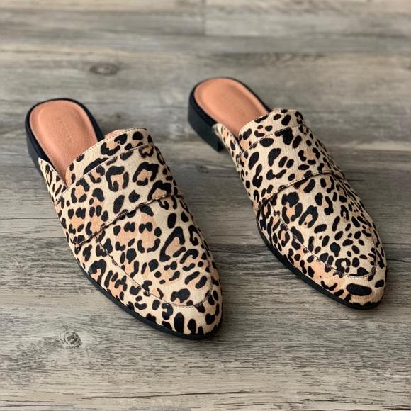 Violet Calf Hair Leopard Loafer Mule